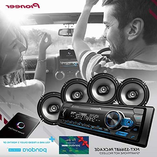 Pioneer Built-in MIXTRAX, USB, Android Digital Media Receiver w/Pandora Premium Trial + 2 Speaker ALPHASONIK Earbuds