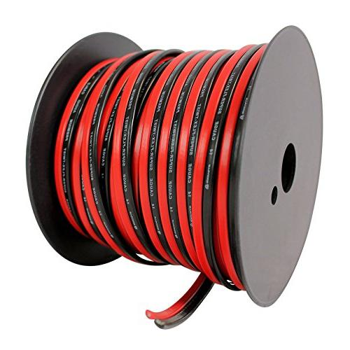 Rockville R14GSBR100 Red/Blk Gauge Ft. Mini Spool Car Audio Wire