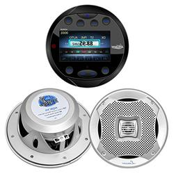 Lanzar AQR80B Round Aquatic Waterproof Marine Stereo in Dash
