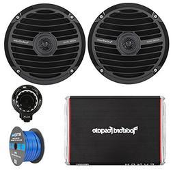 Marine Speaker and Amp Combo of 2X Rockford Fosgate RM0652 6