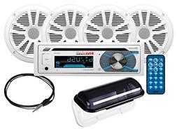 BOSS Audio MCK508WB.64S Marine Receiver/Speaker Package, Blu