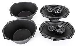 """NEW Skar Audio 6x9"""" 350W 3 Way Car Audio Speaker System with"""