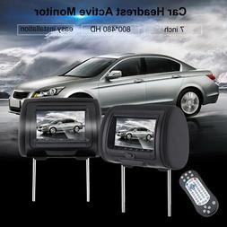 "Pair  7"" Black  Car Headrest TV Monitors w/ Speakers LCD S"