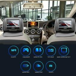 "Pair 7"" Grey TFT-LCD Car Headrest TV Monitors w/ Speakers+IR"