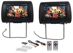 Pair Rockville RHP91-BK 9 Digital Panel Black Car Headrest M