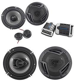 """Pair Rockville RV65.2C 6.5"""" Component Car Speakers+6.5"""" Coax"""