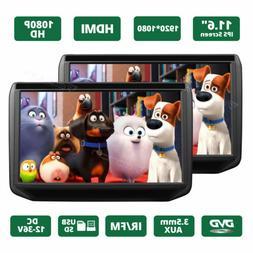 "US 2x 11.6"" IPS Screen Car Headrest TV Monitor DVD/USB/SD/HD"