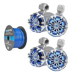 "4x Pyle Marine 6.5"" Wakeboard IP44 Rated Waterproof Tower Si"