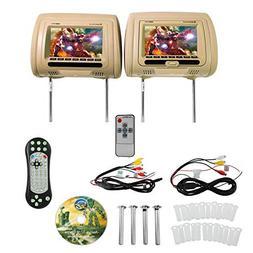 "Rockville RDP711-BG 7"" Beige Car Headrest Monitors w/DVD P"