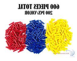 600 PCS Red Blue Yellow Vinyl Butt Connector 22-10 Gauge 12V