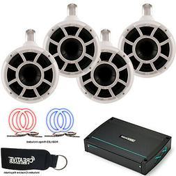 Wet Sounds REV 8 White Fixed Clamp Waketower speakers Kicker