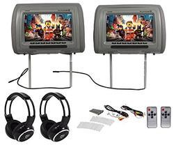 Rockville RHP91-GR 9 Digital Panel Gray Headrest Monitors+Wi