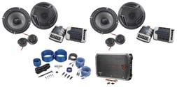 """2 Pairs Rockville RV65.2C 6.5"""" Component Car Speakers+4-Chan"""
