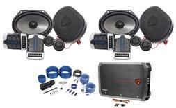 2 Pairs Rockville RV68.2C 6x8/5x7 Component Car Speakers+4-C