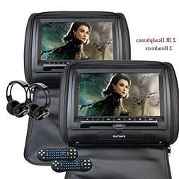 """Eincar 2X Twin Car Headrest DVD Player 9"""" HD Touchscreen FM&"""