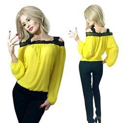 FAPIZI ♥ Women Blouse ♥ Women Off Shoulder Long Sleeve S